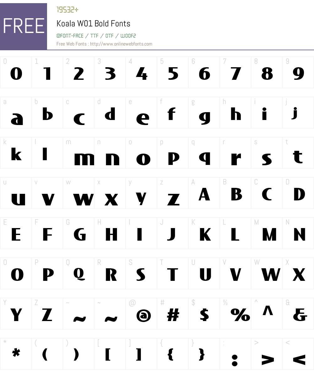KoalaW01-Bold Font Screenshots