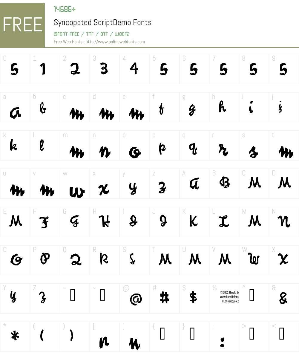 Syncopated ScriptDemo Font Screenshots