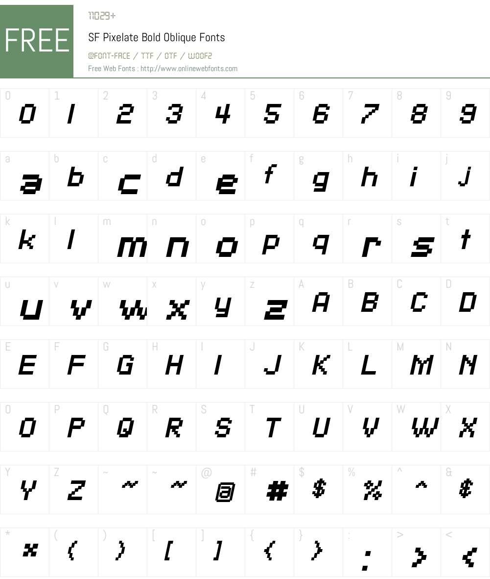 SF Pixelate Font Screenshots