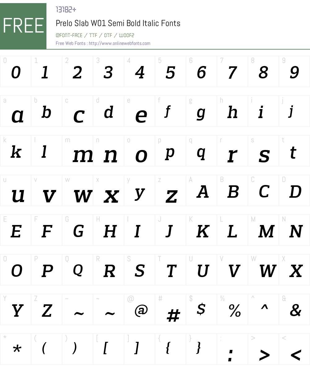 PreloSlabW01-SemiBoldItalic Font Screenshots
