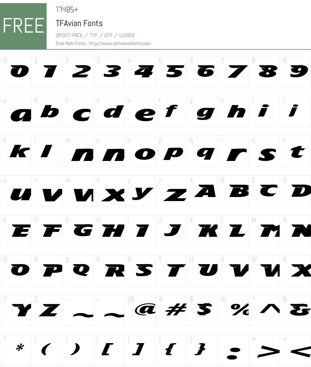 TFAvian Font Screenshots