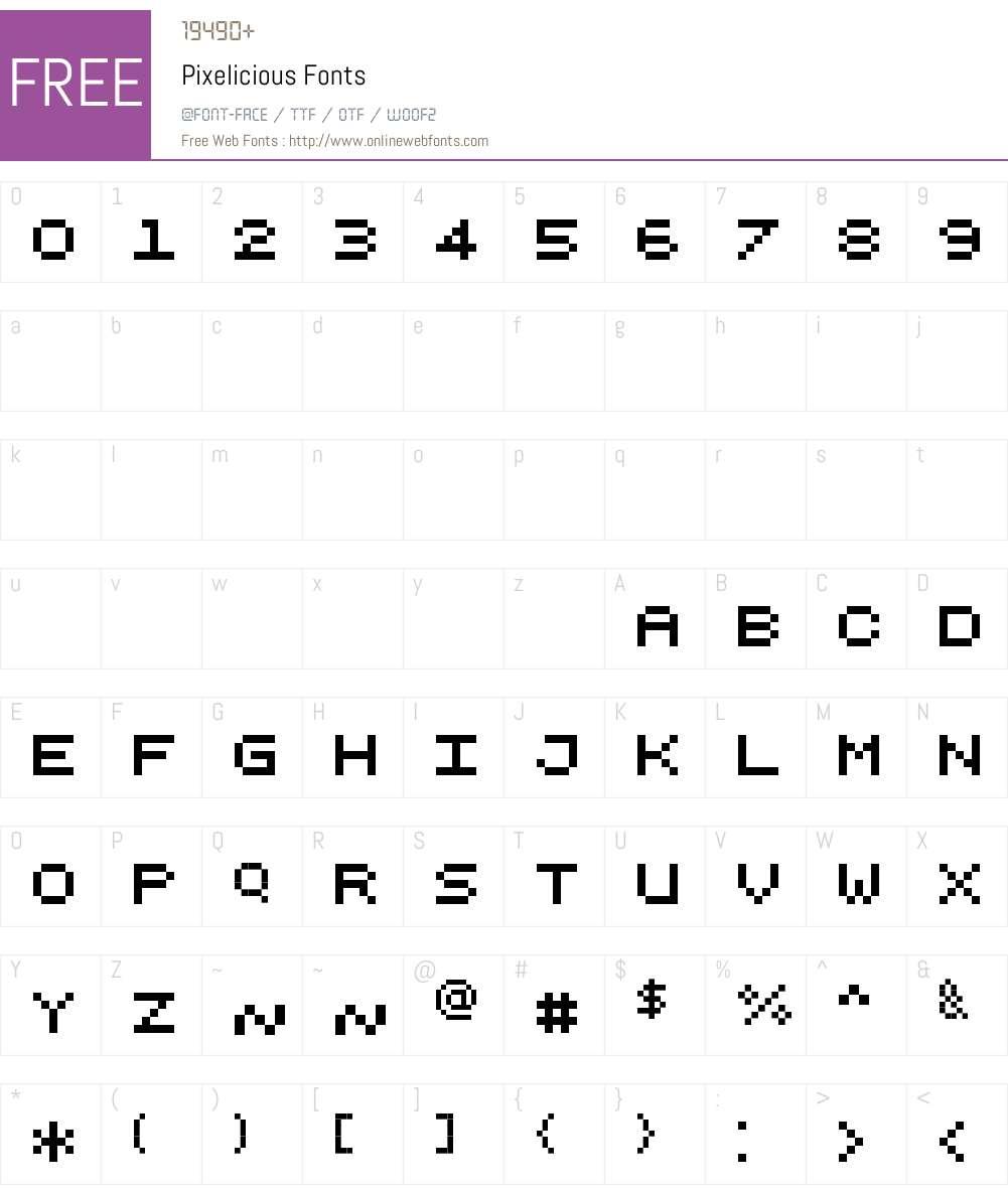 Pixelicious Font Screenshots