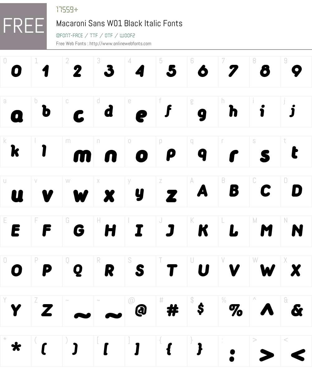 MacaroniSansW01-BlackItalic Font Screenshots