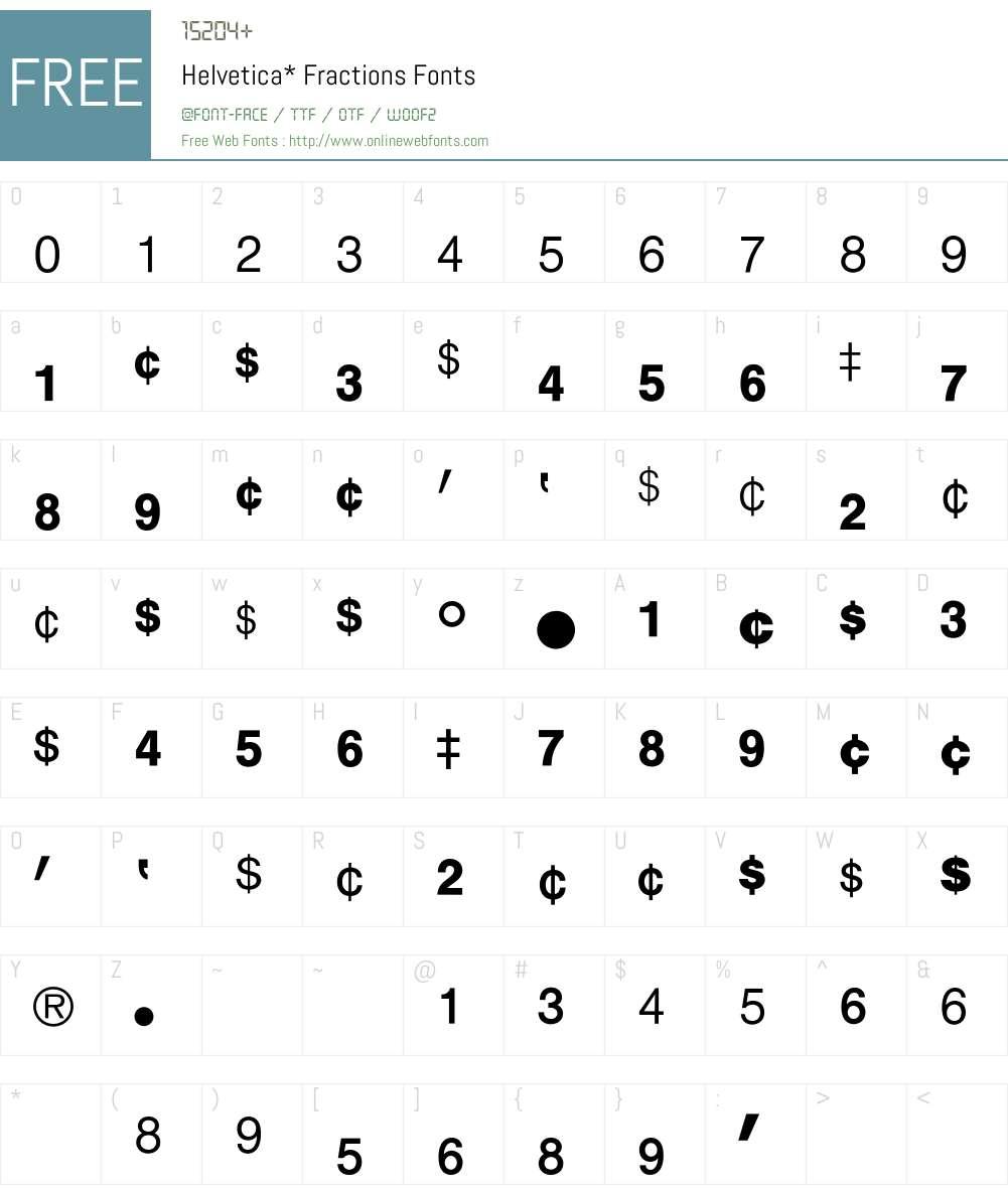 Helvetica Fractions BQ Font Screenshots