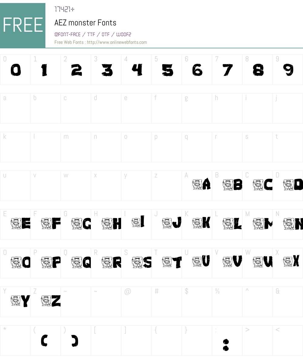 AEZ monster Font Screenshots
