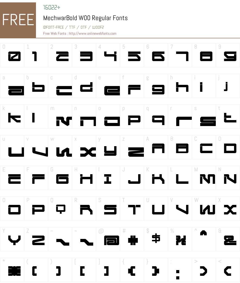 Mechwar Font Screenshots