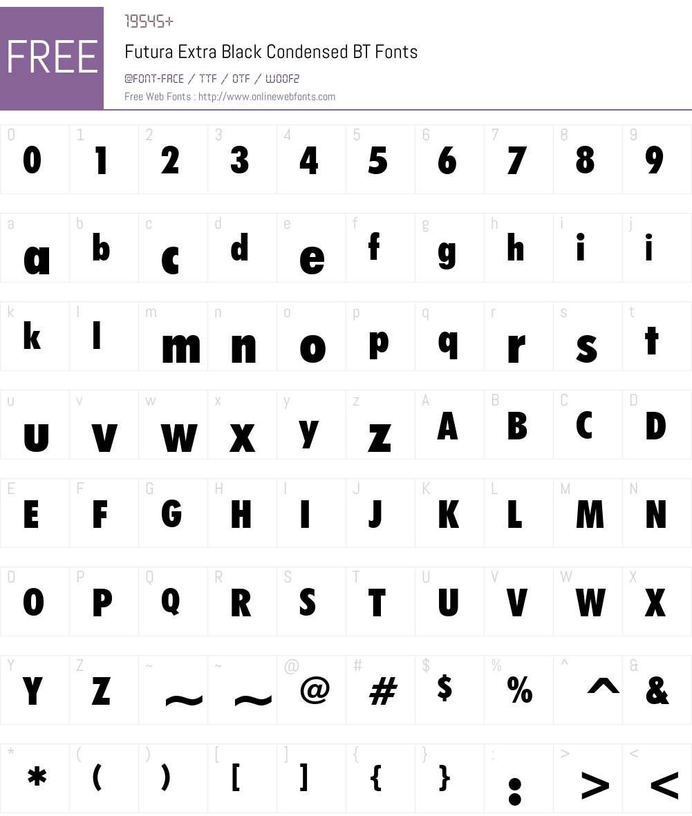 Futura XBlkCn BT Font Screenshots