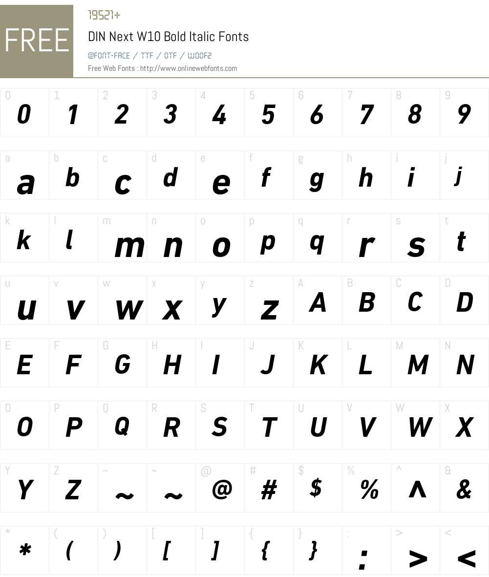 DINNextW10-BoldItalic Font Screenshots