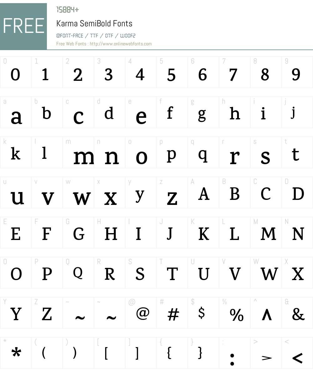 Karma SemiBold Font Screenshots