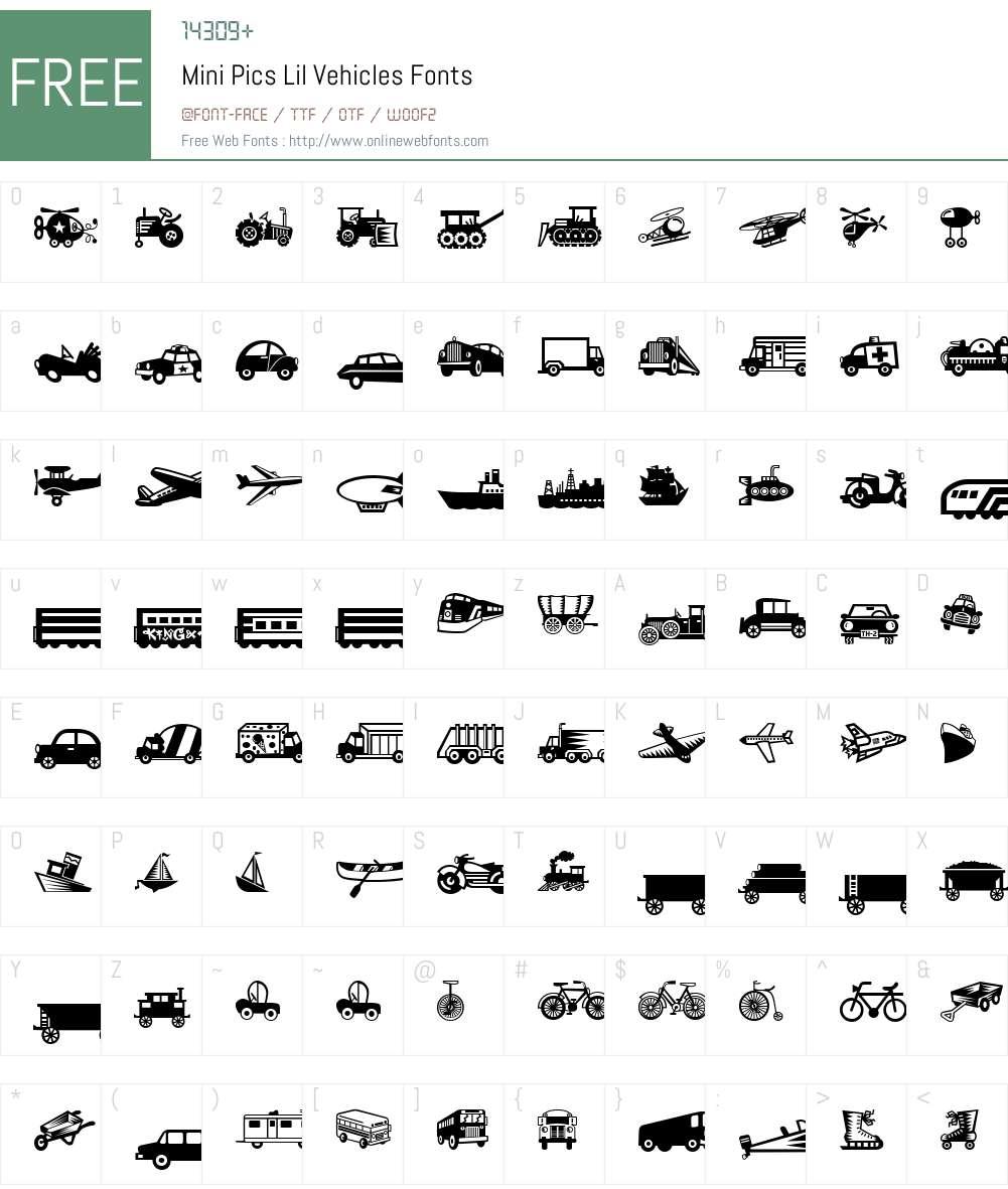 Mini Pics Lil Vehicles Font Screenshots