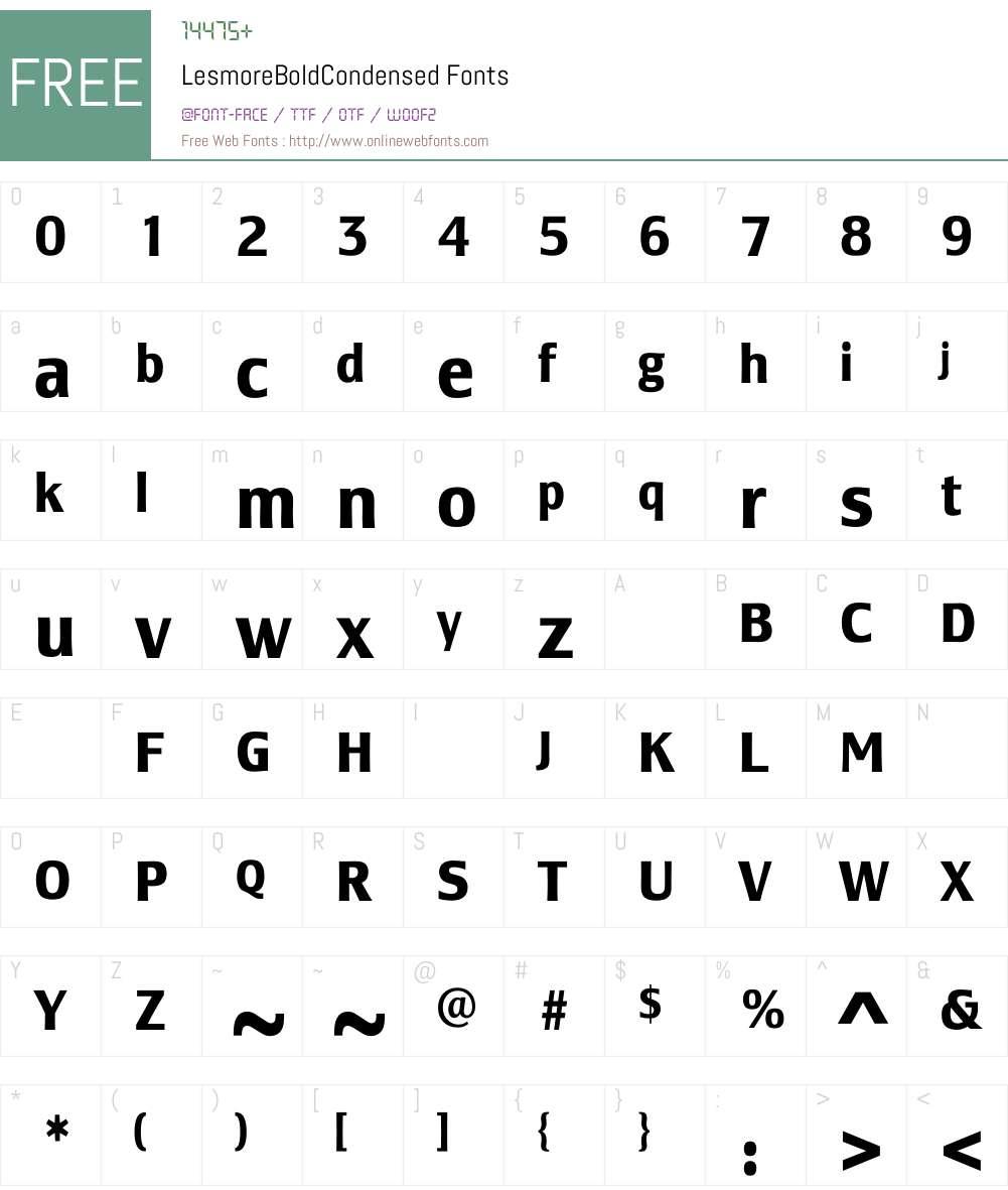 LesmoreBoldCondensed Font Screenshots