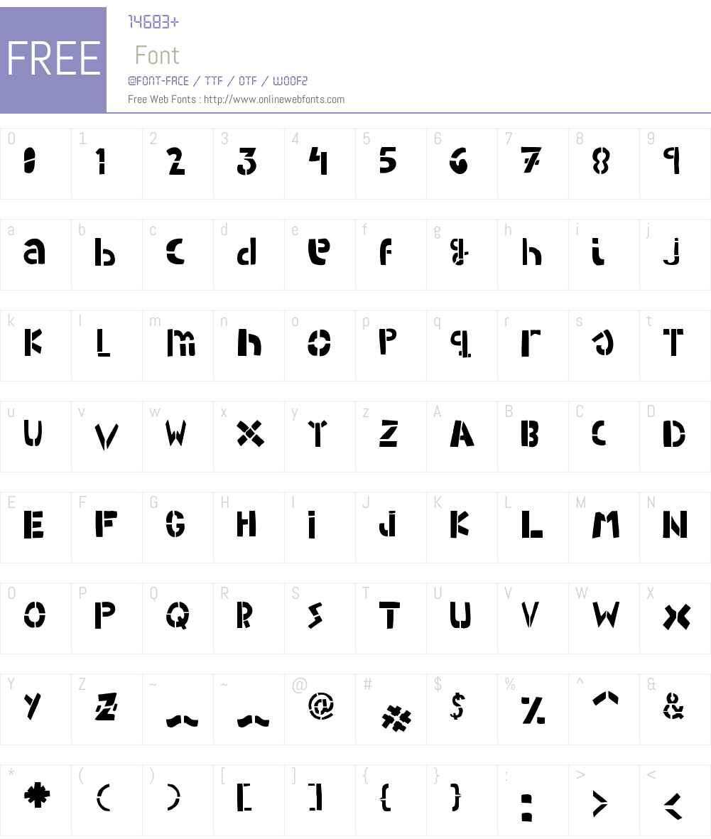 WOODCUTTER ARMY (Stencil) Font Screenshots