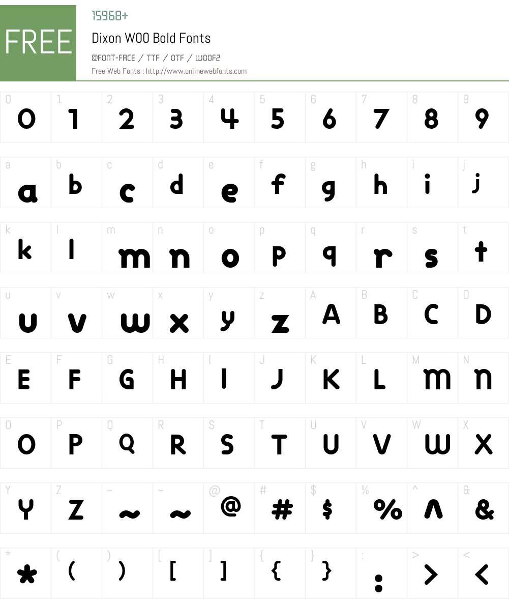 DixonW00-Bold Font Screenshots