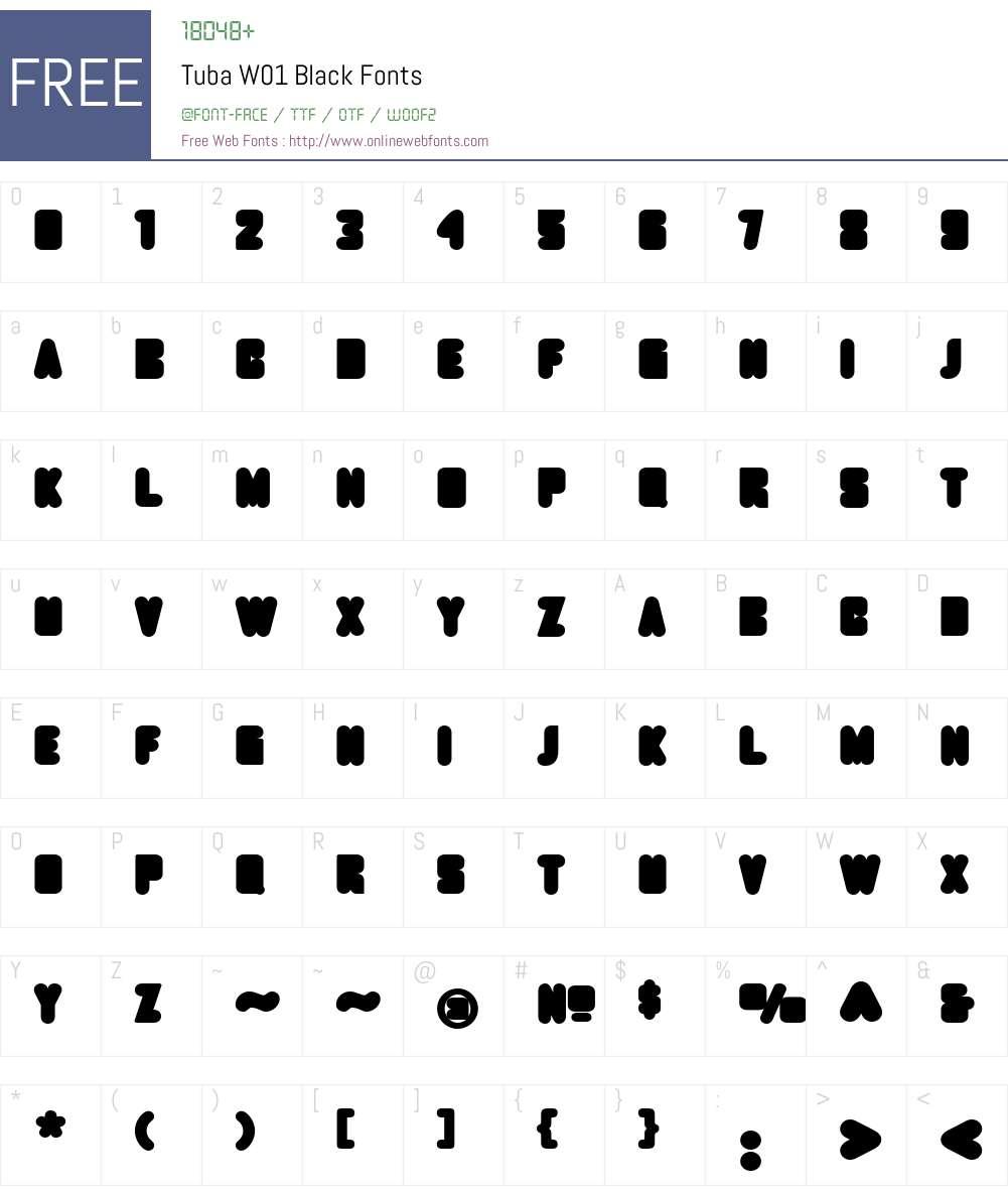 TubaW01-Black Font Screenshots