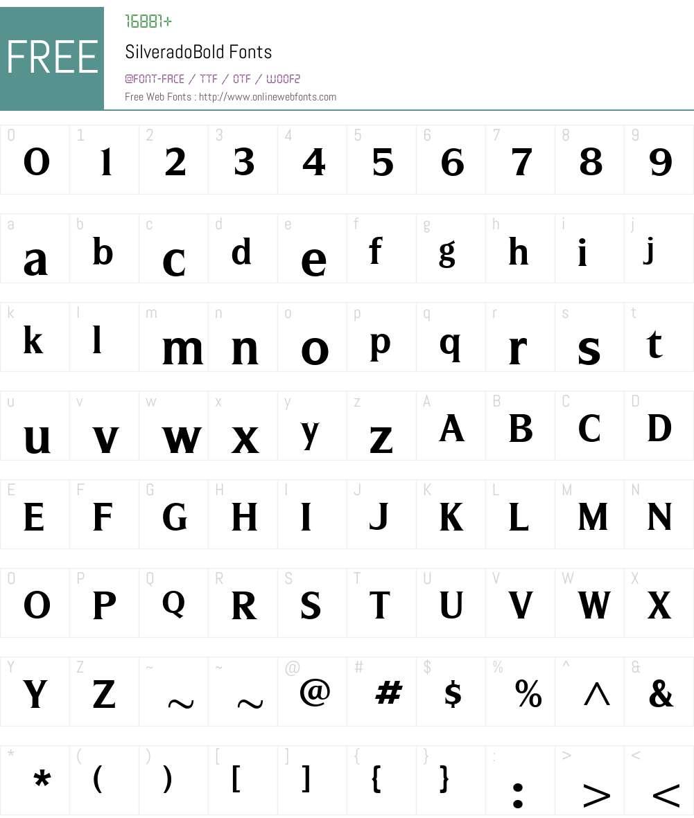 SilveradoBold Font Screenshots