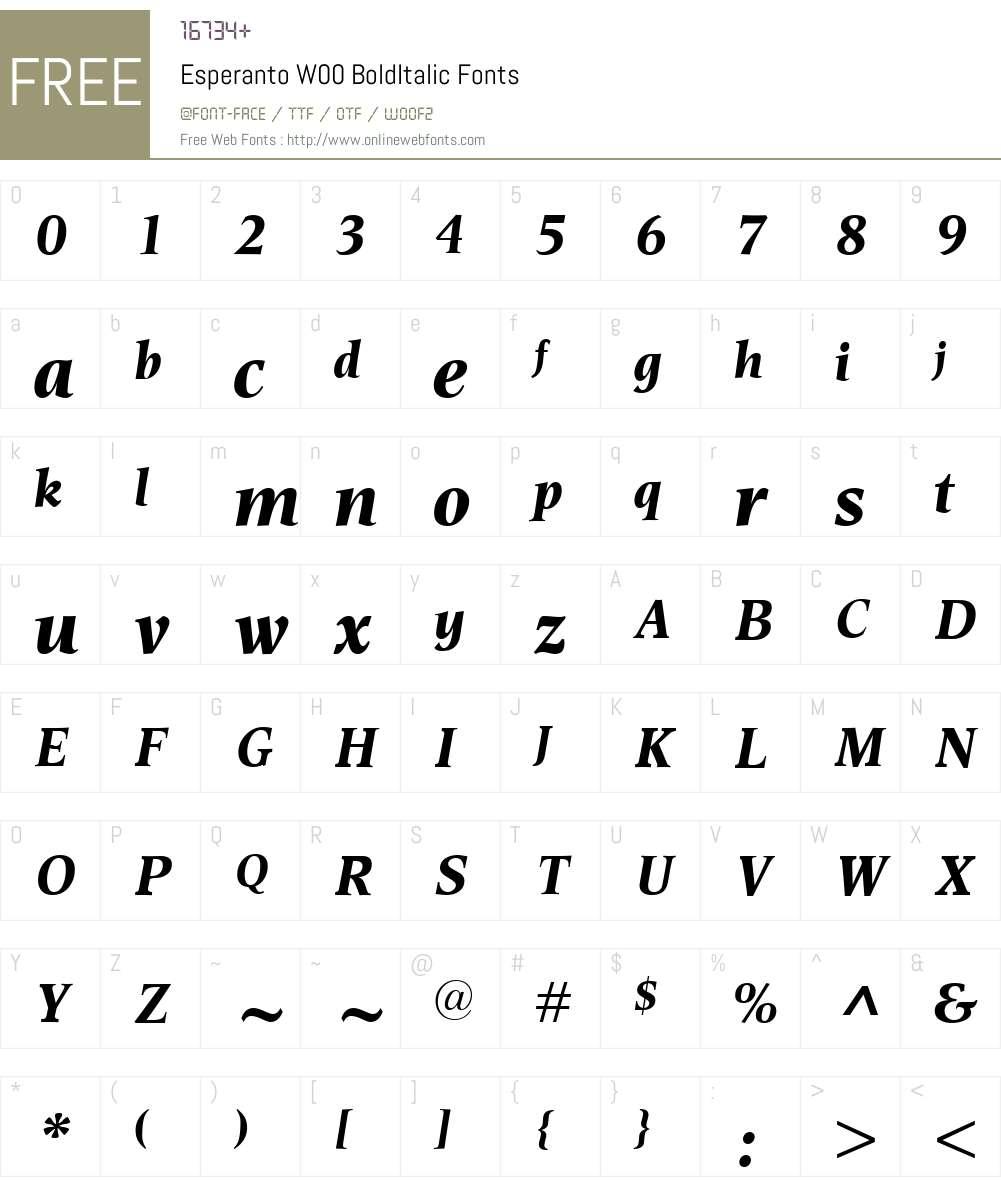 EsperantoW00-BoldItalic Font Screenshots