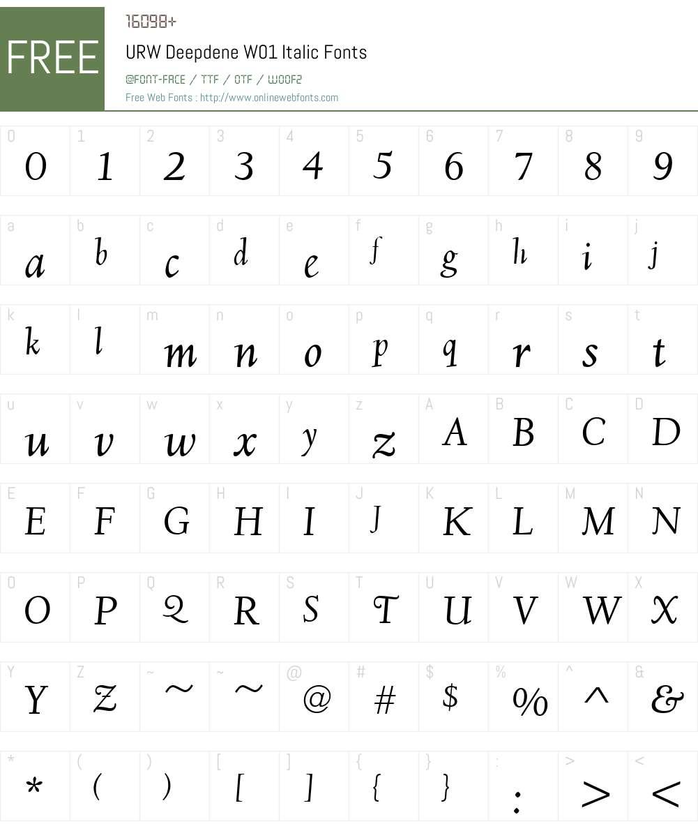 URWDeepdeneW01-Italic Font Screenshots