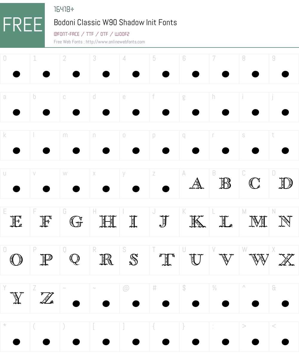 BodoniClassicW90-ShadowInit Font Screenshots