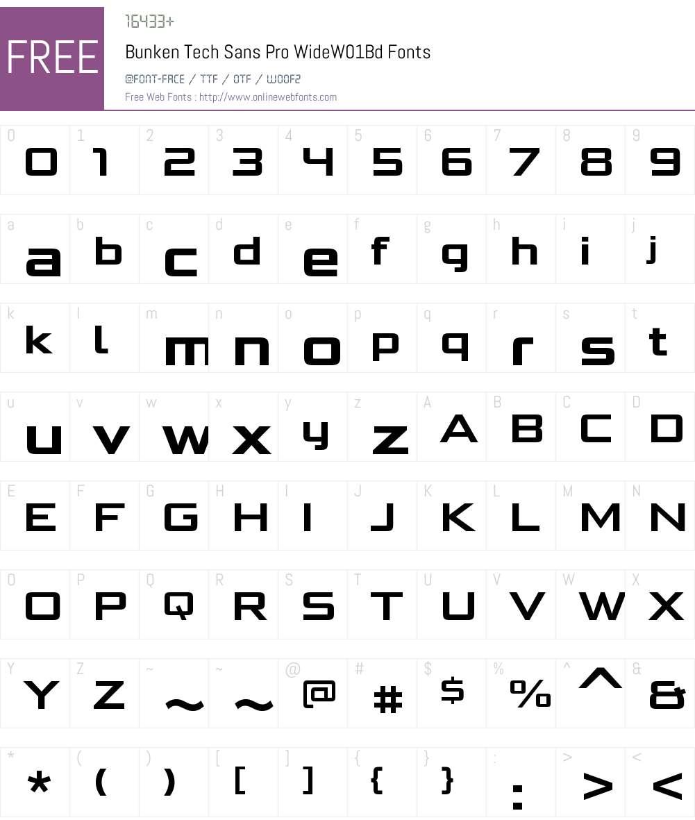 BunkenTechSansProWideW01-Bd Font Screenshots