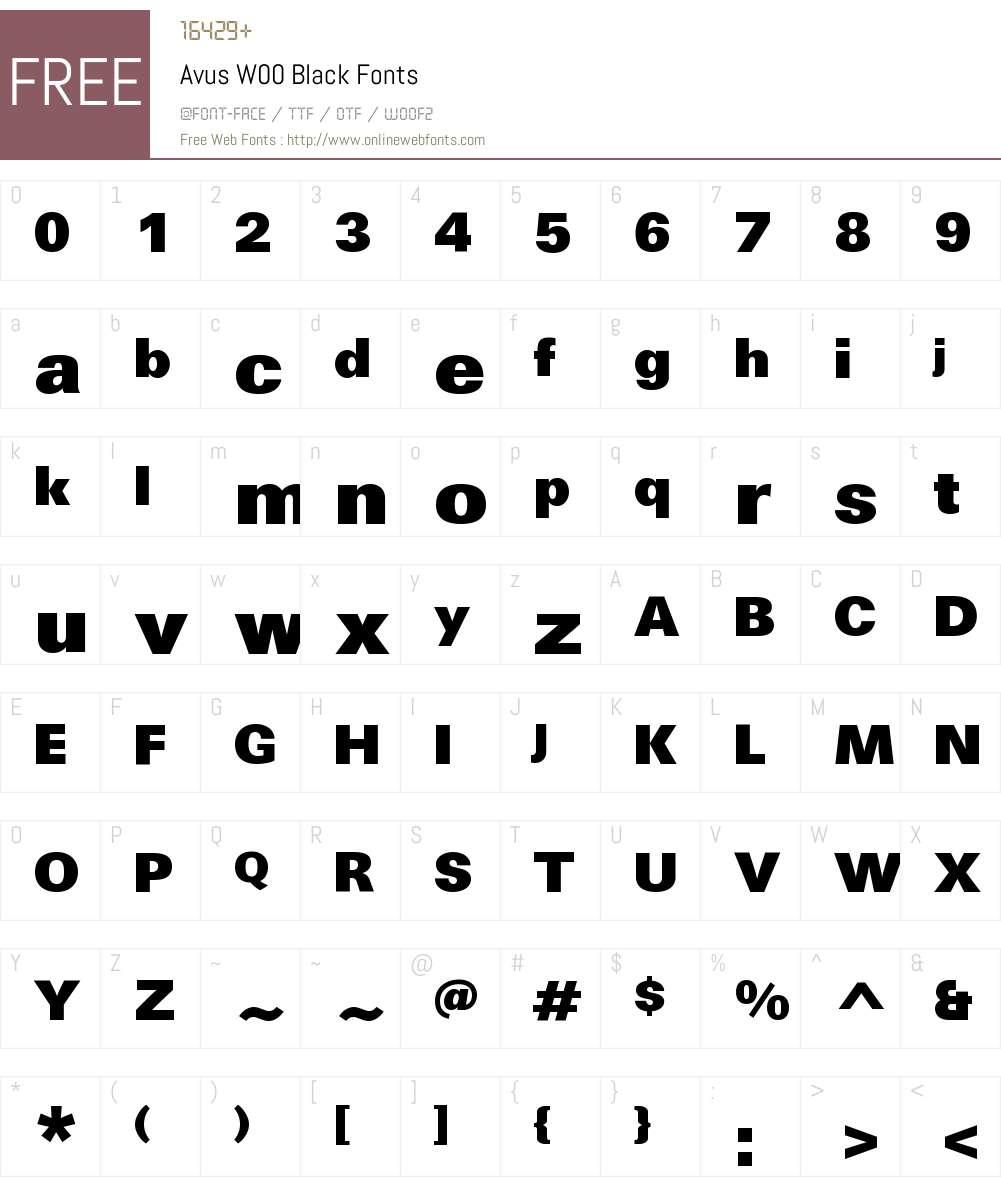 AvusW00-Black Font Screenshots
