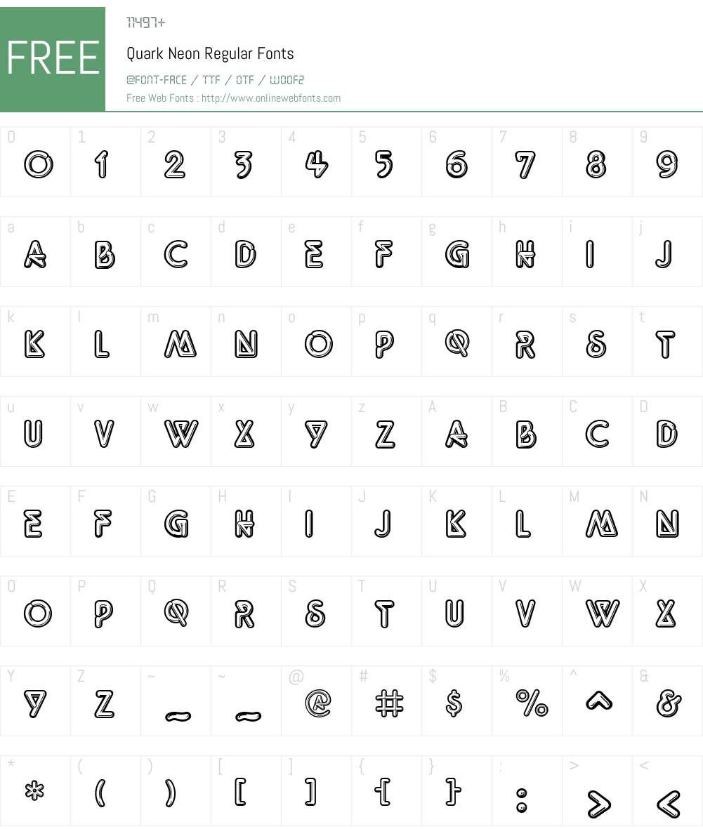 Quark Neon Font Screenshots