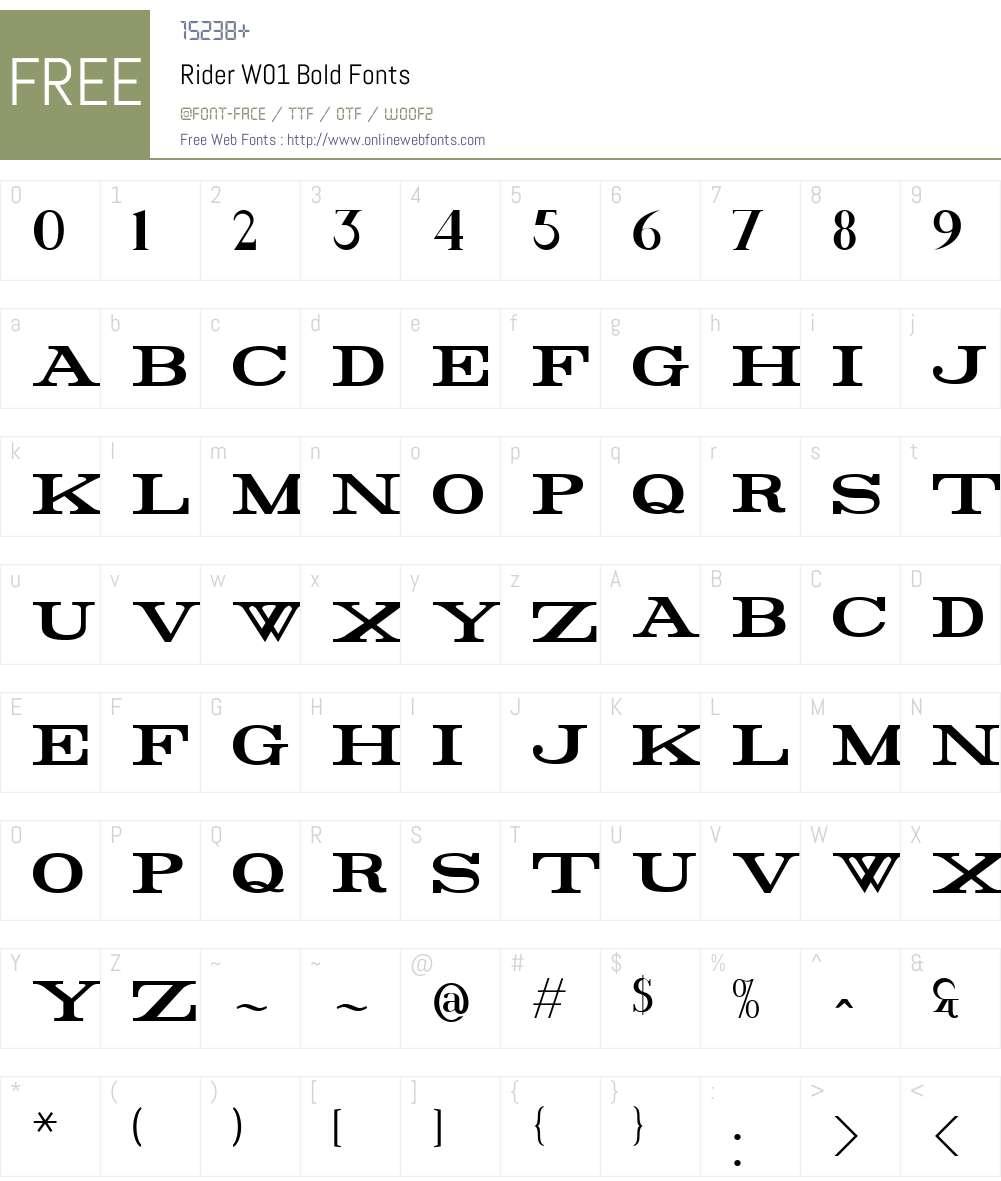 RiderW01-Bold Font Screenshots