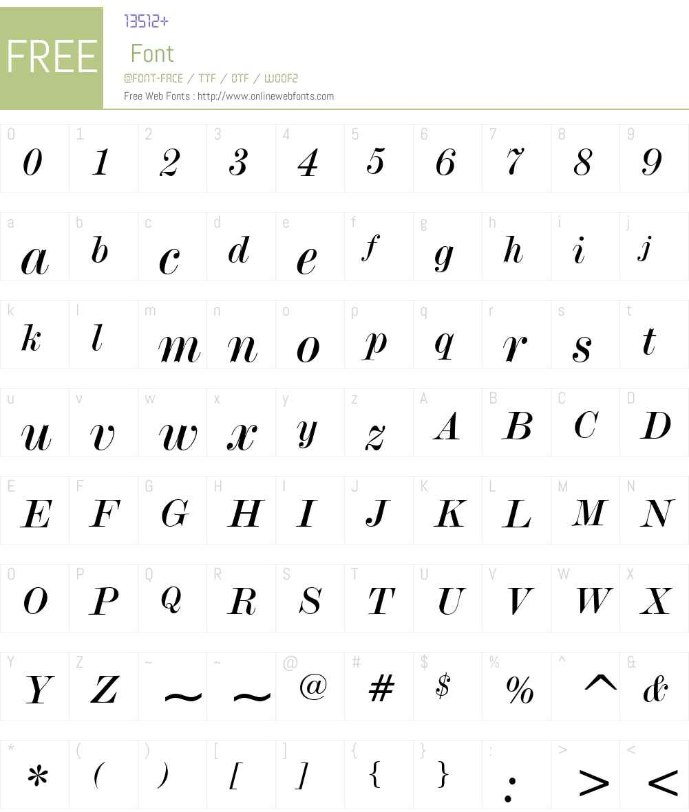ModernNo20W01-Italic Font Screenshots