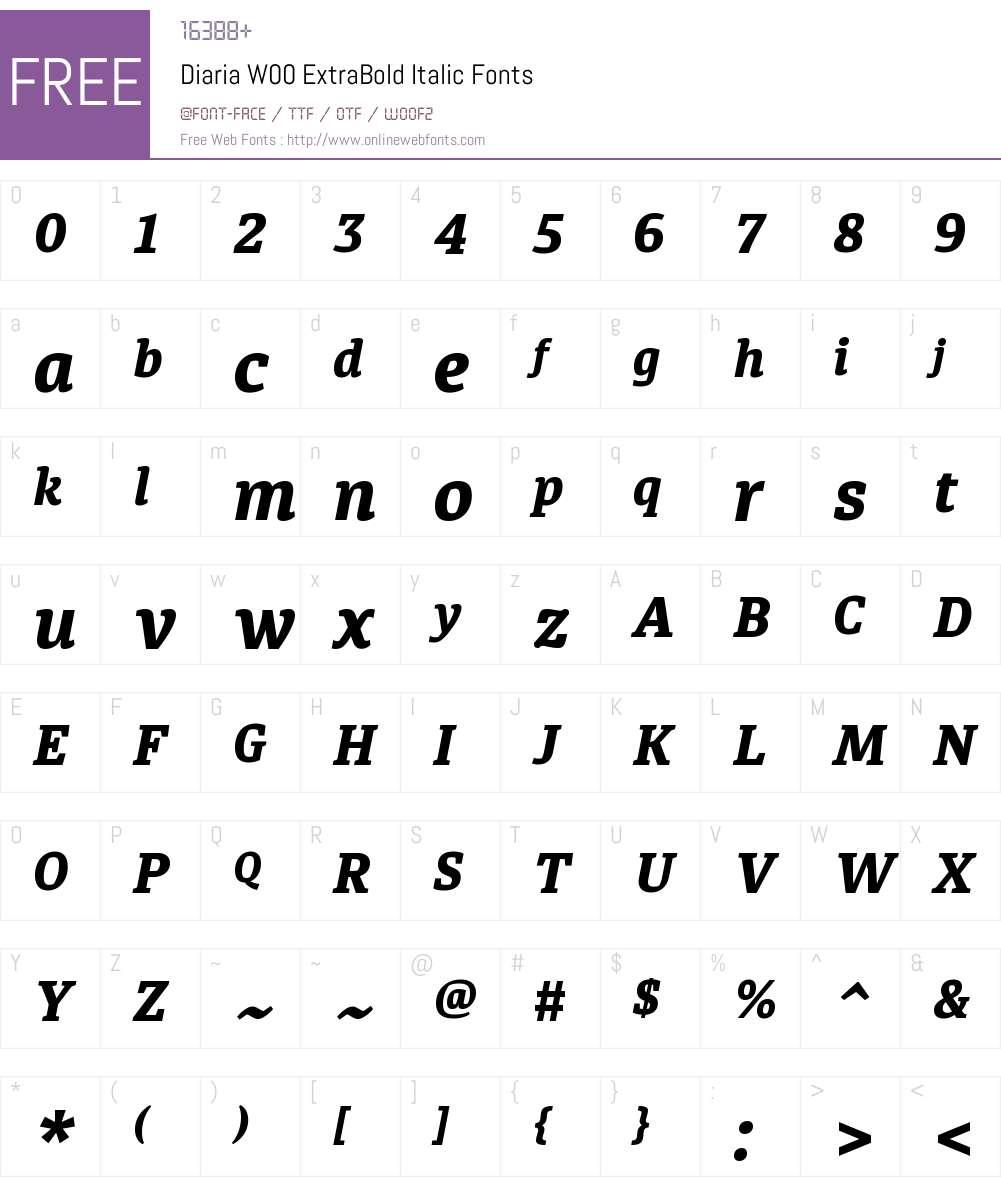 DiariaW00-ExtraBoldItalic Font Screenshots