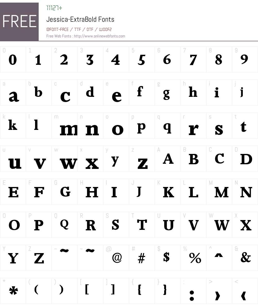 Jessica-ExtraBold Font Screenshots