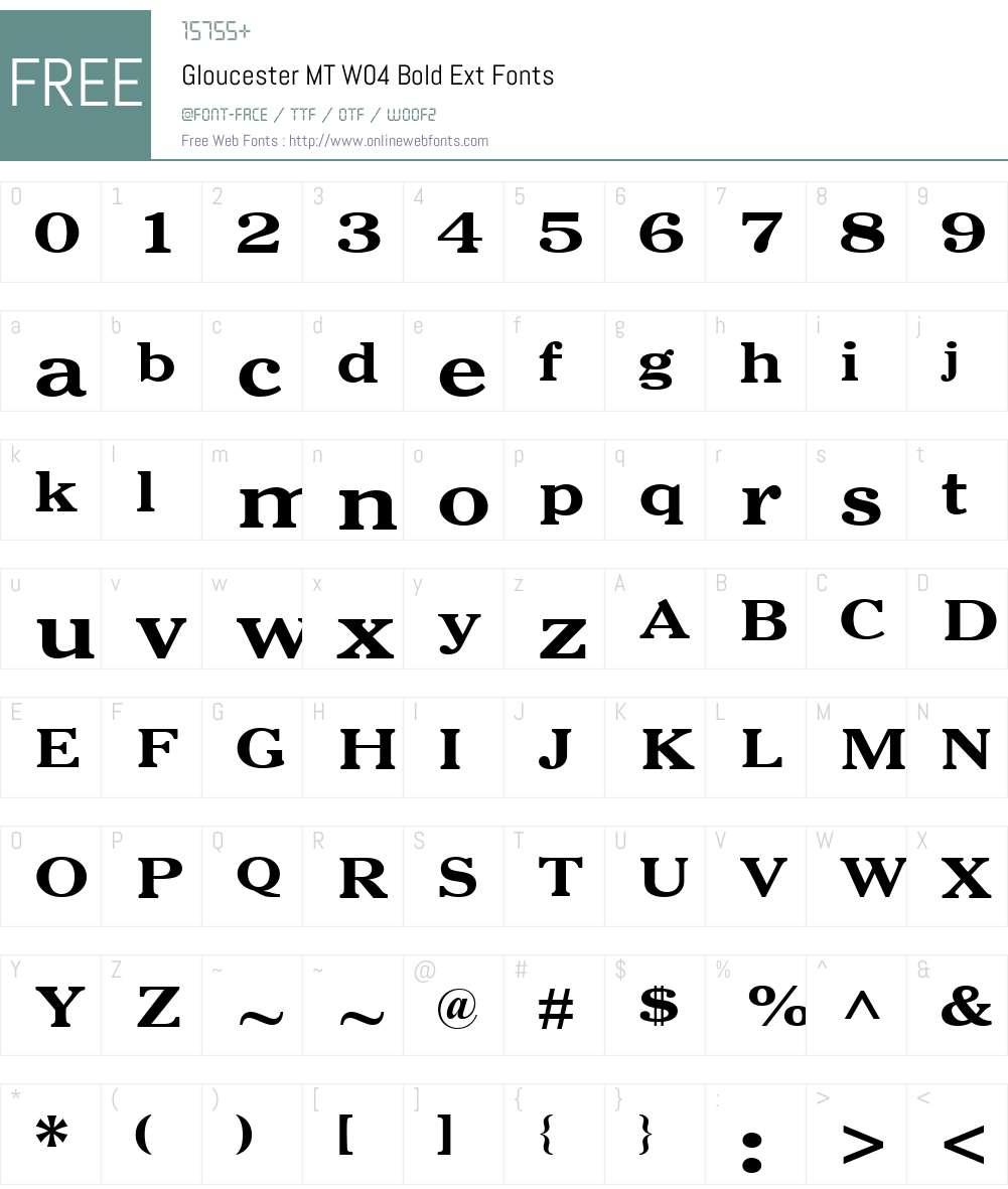 Gloucester Font Screenshots