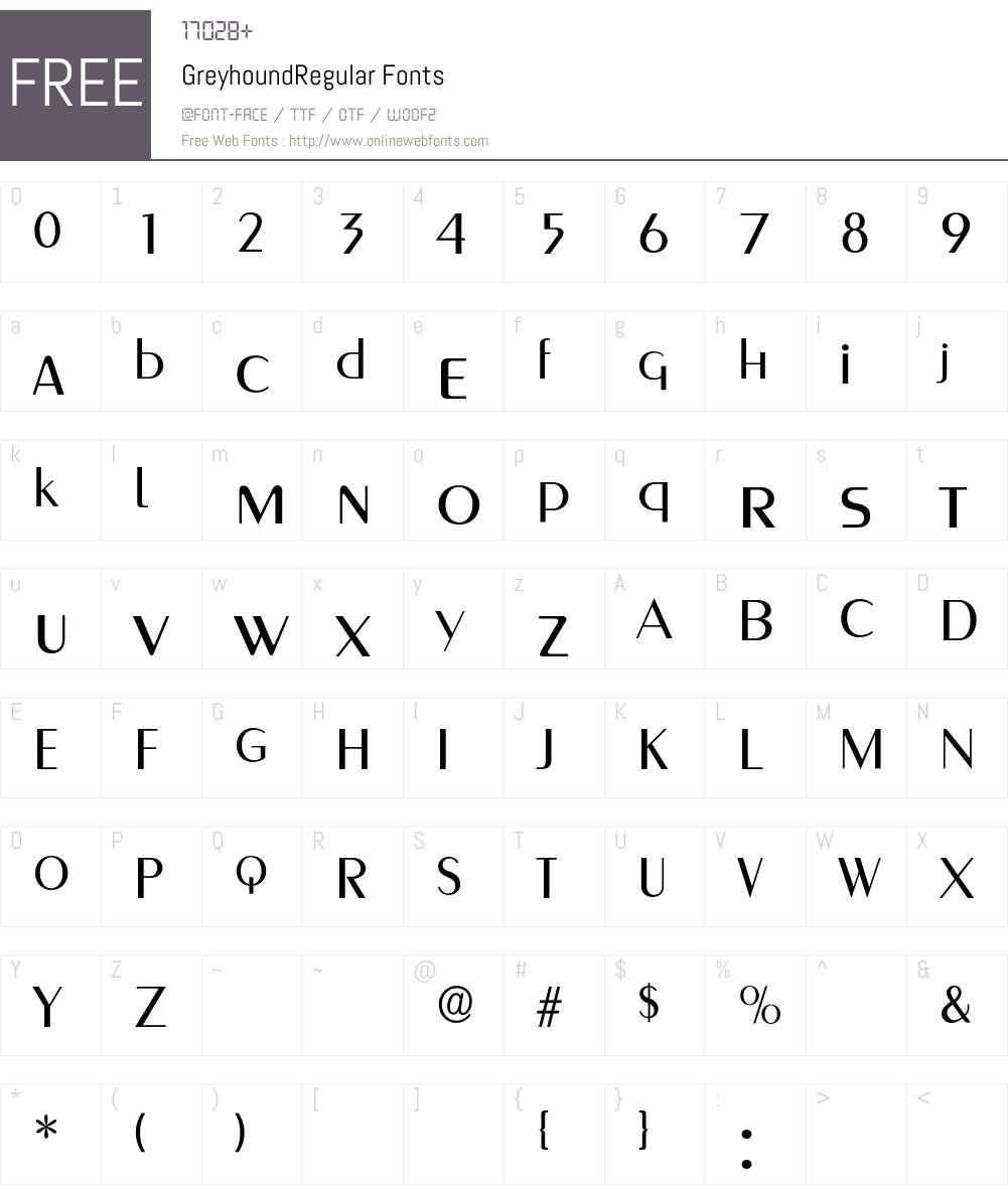 GreyhoundRegular Font Screenshots