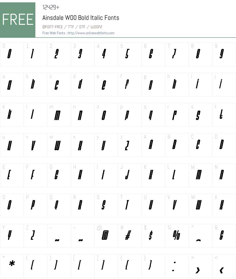 AinsdaleW00-BoldItalic Font Screenshots