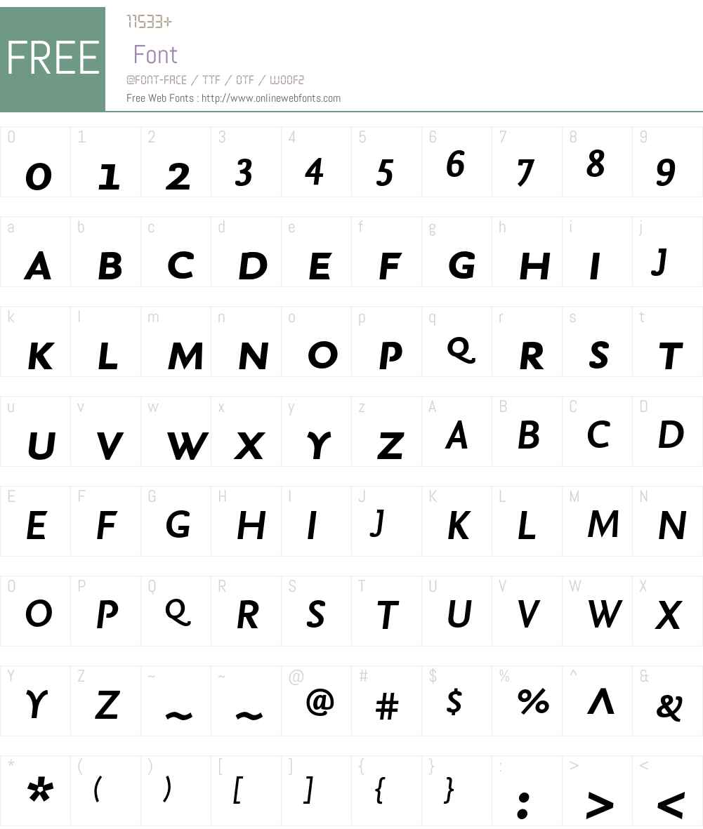 NexusSans-BoldItalicSC Font Screenshots