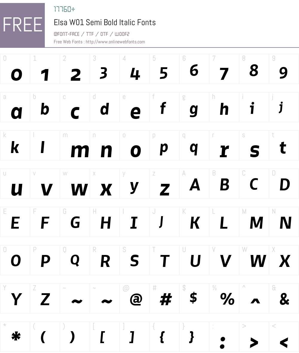 ElsaW01-SemiBoldItalic Font Screenshots