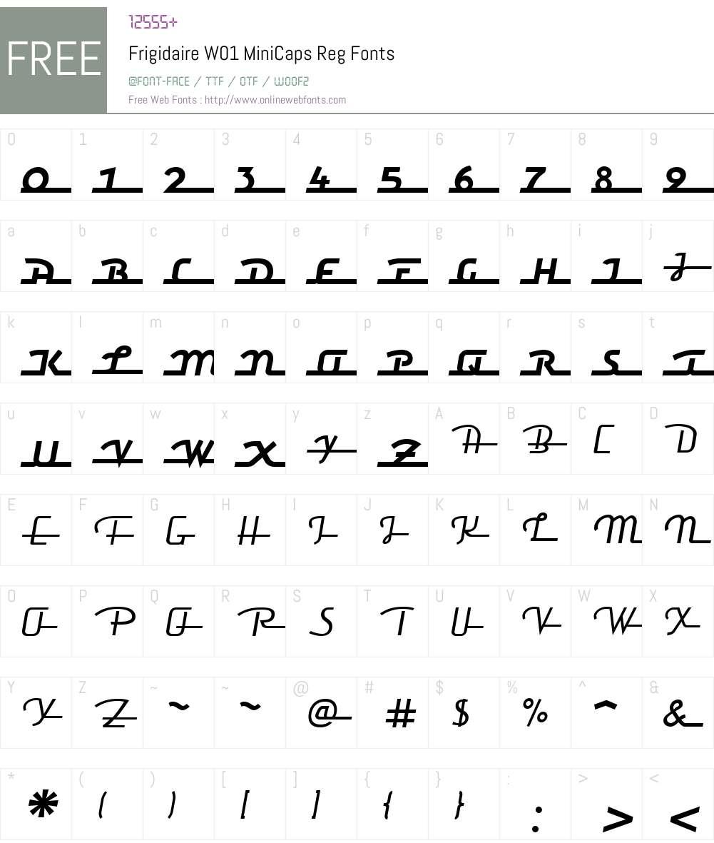 FrigidaireW01-MiniCapsReg Font Screenshots