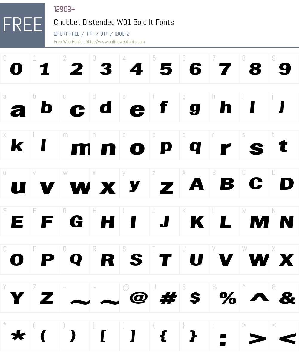 ChubbetDistendedW01-BoldIt Font Screenshots