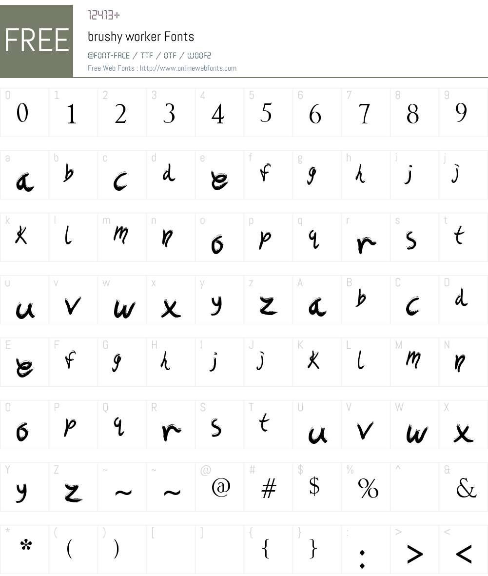 brushy worker Font Screenshots