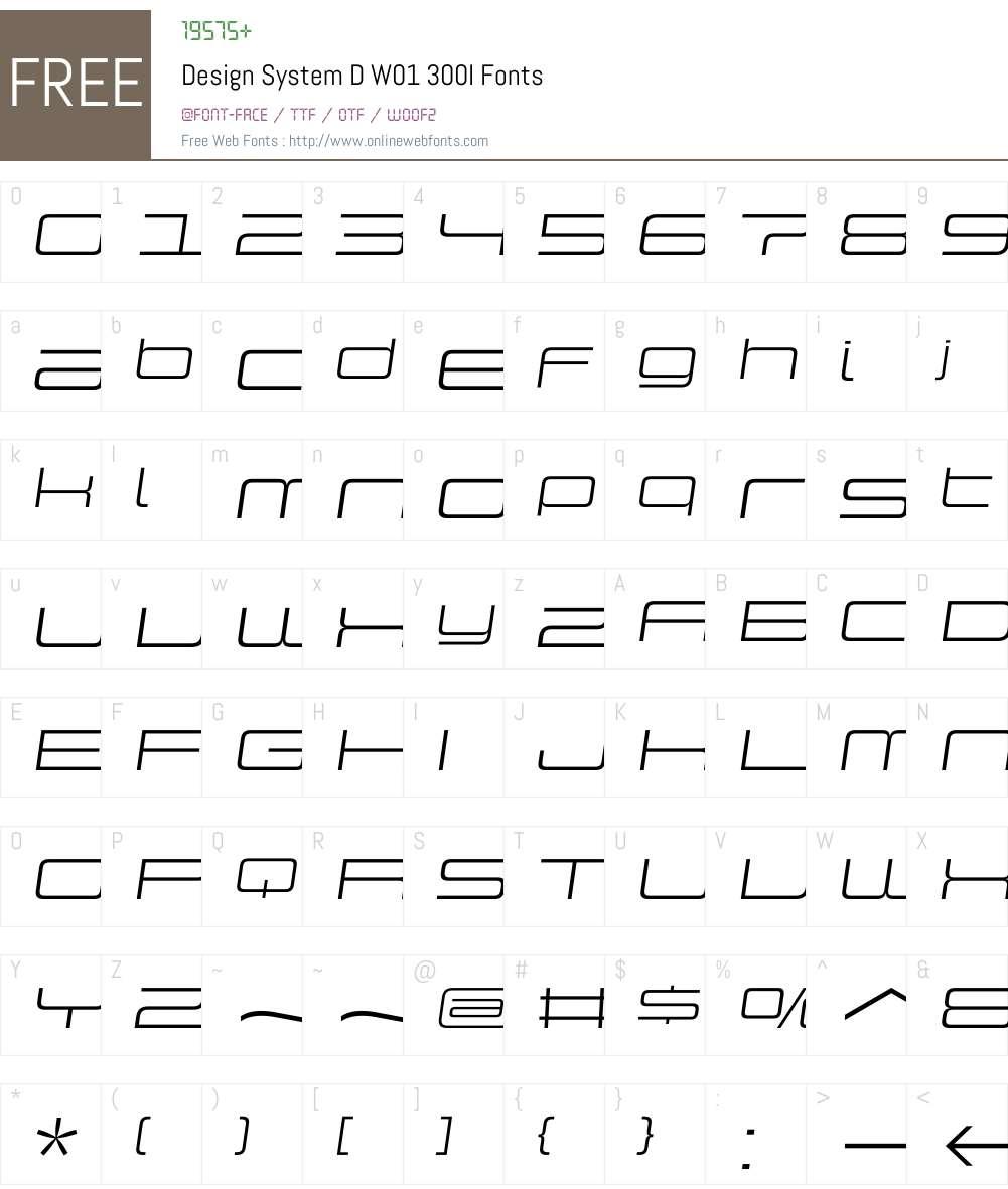 DesignSystemDW01-300I Font Screenshots