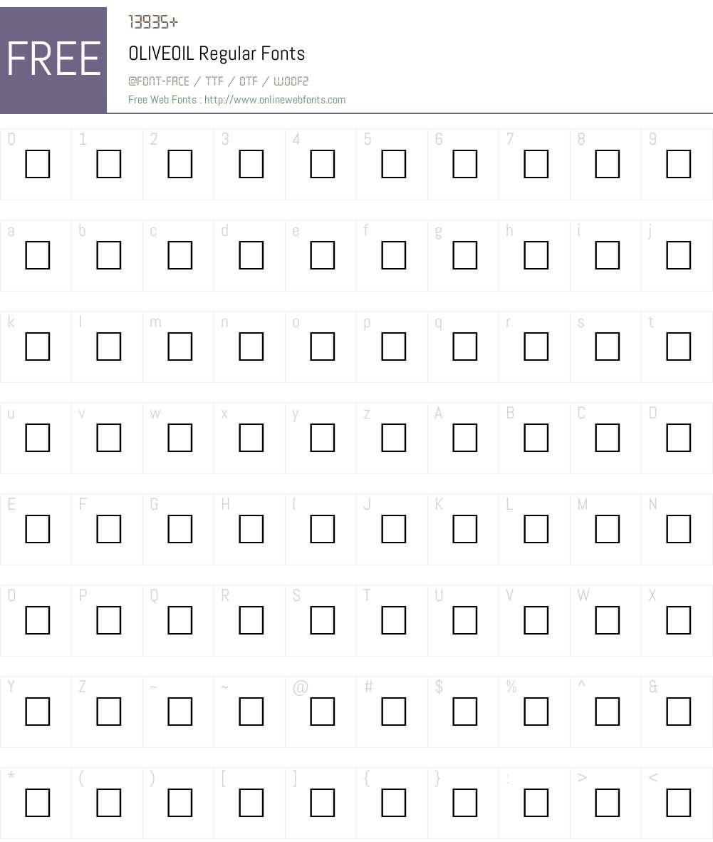 OLIVEOIL Font Screenshots
