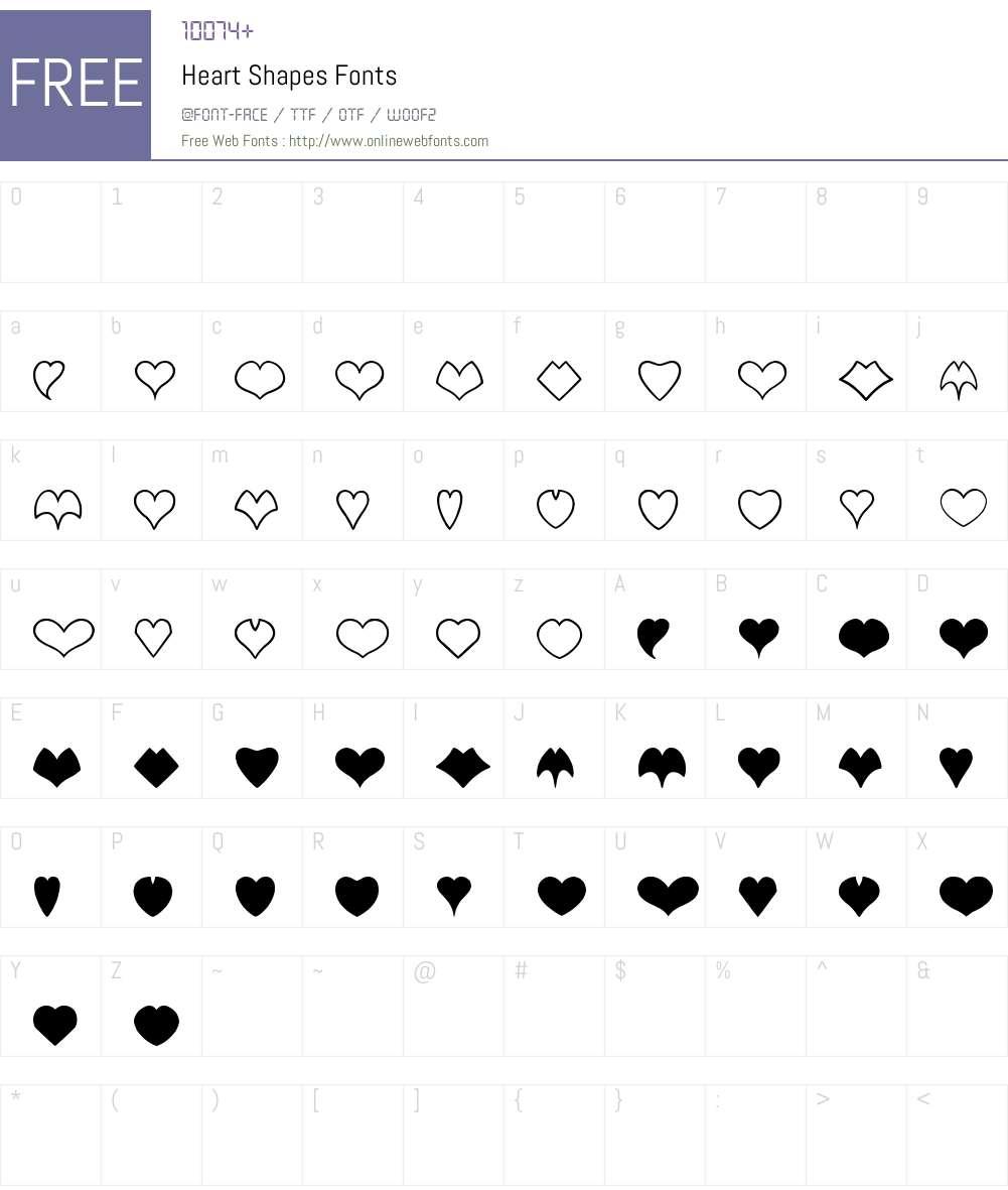 Heart Shapes Font Screenshots