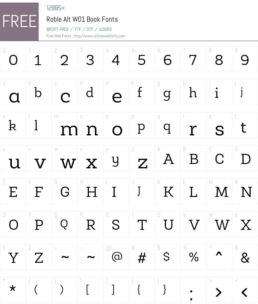 RobleAltW01-Book Font Screenshots