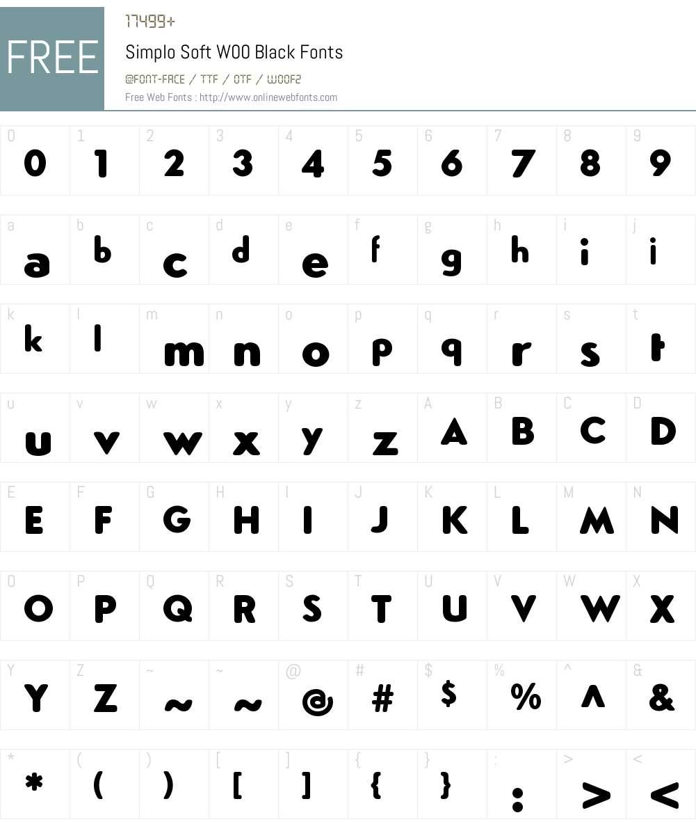 SimploSoftW00-Black Font Screenshots