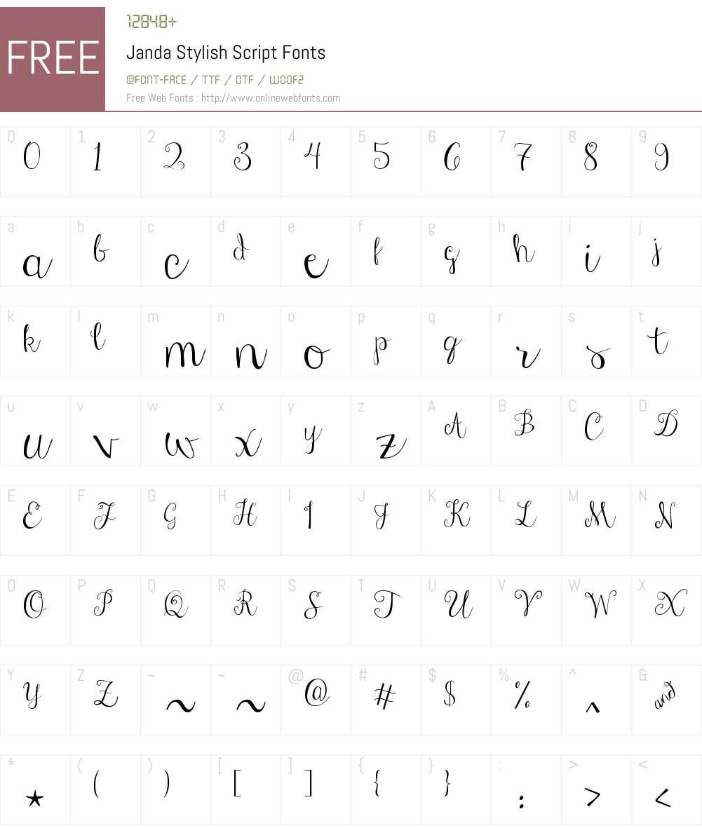 Janda Stylish Script Font Screenshots