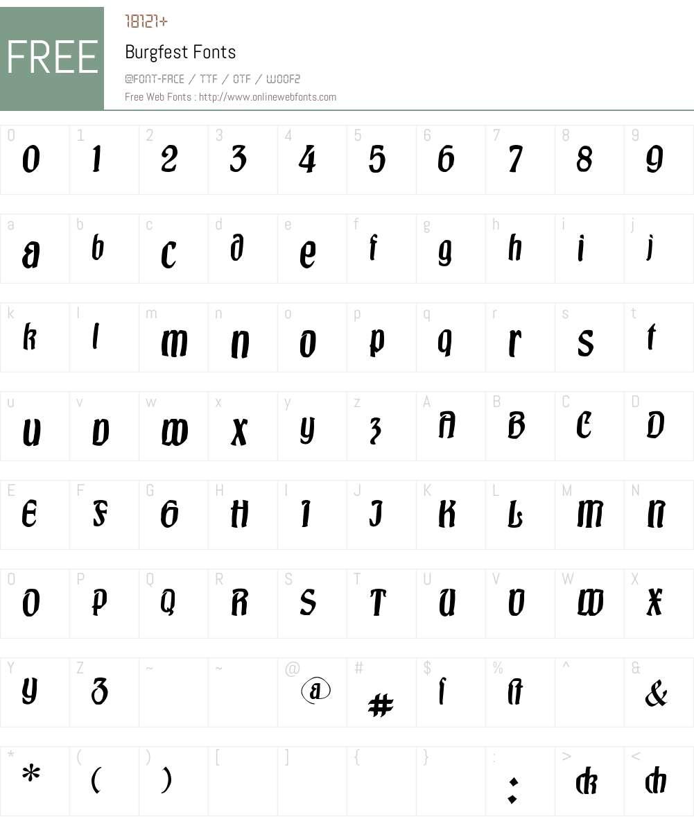 Burgfest Font Screenshots