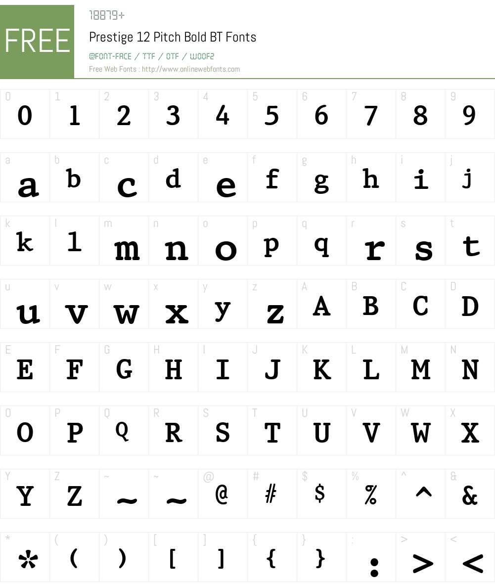 Prestige12 BT Font Screenshots