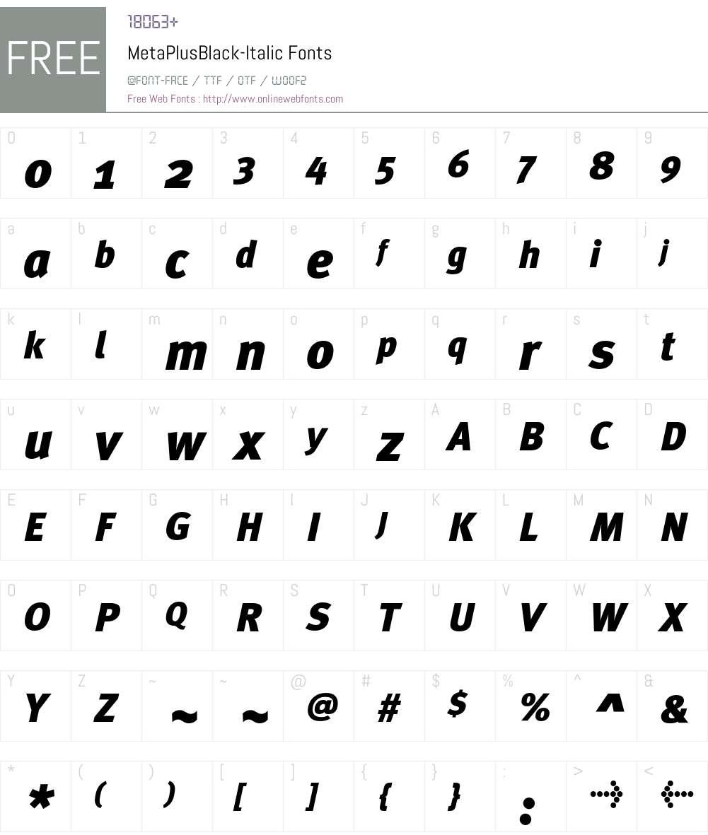MetaPlusBlack- Font Screenshots