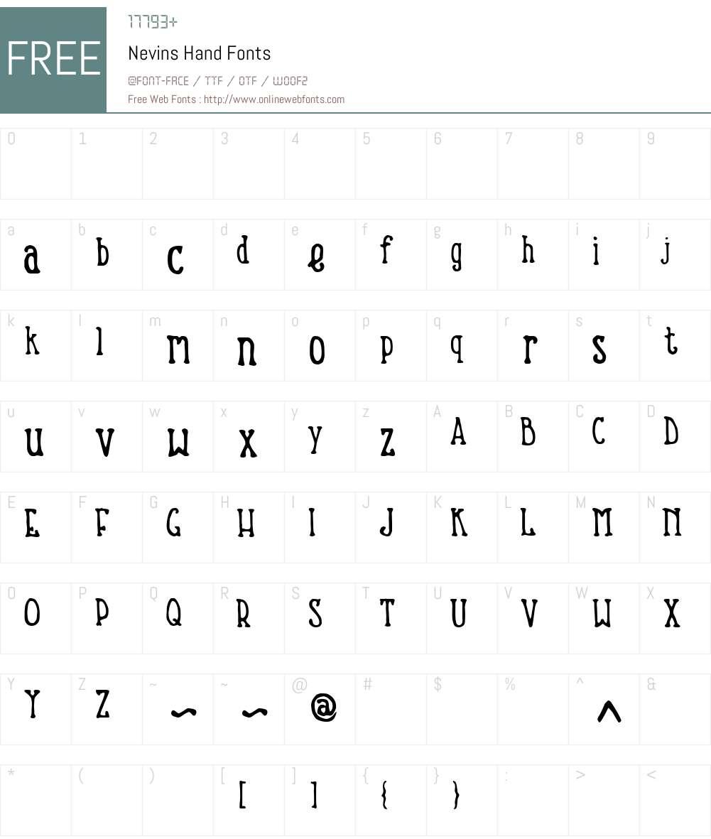 Nevins Hand Font Screenshots