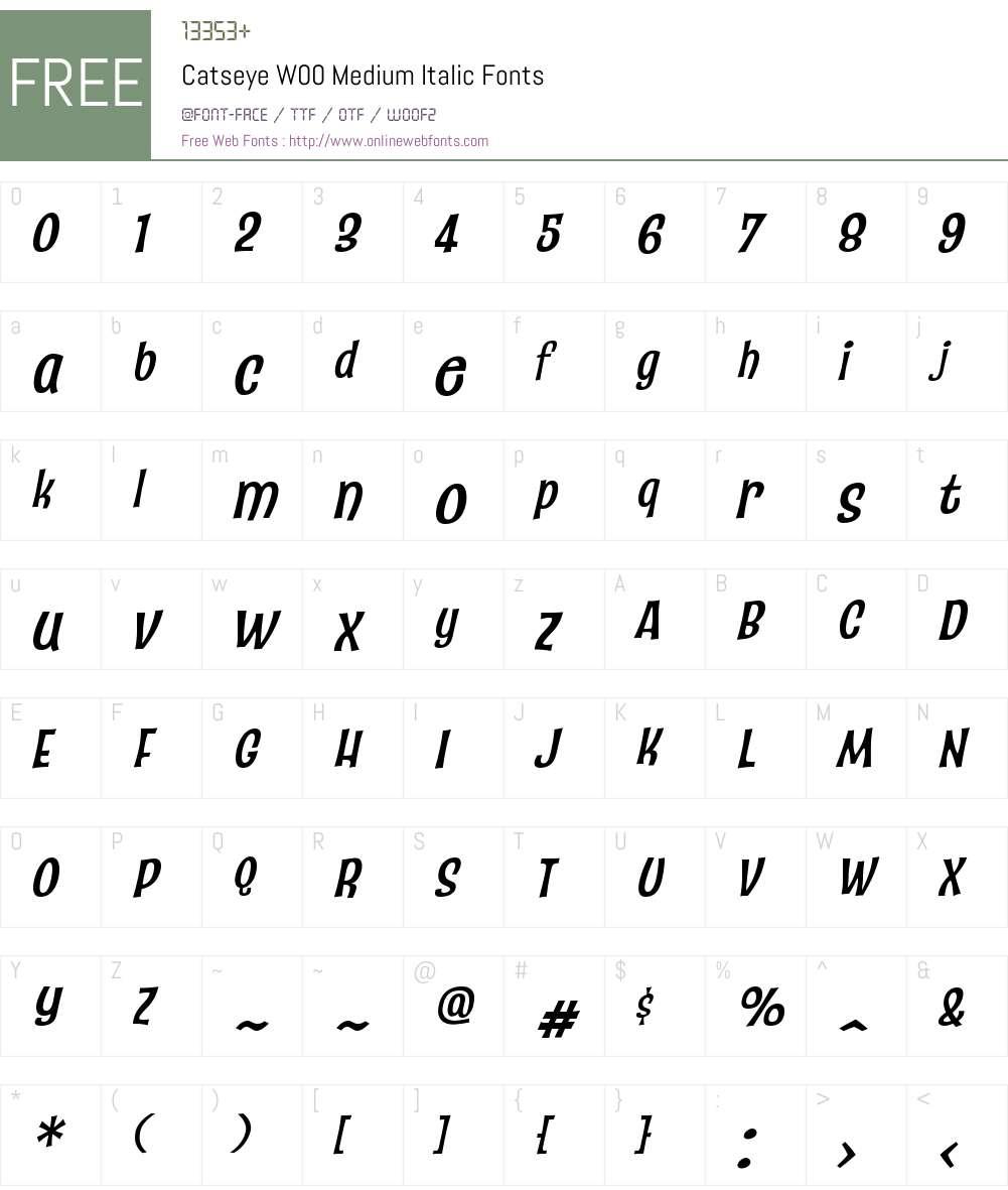 CatseyeW00-MediumItalic Font Screenshots