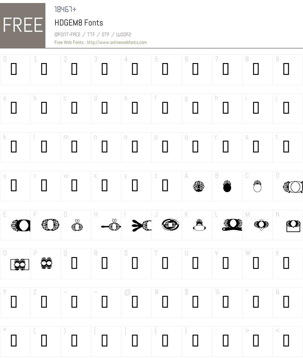 HDGEM8 Font Screenshots