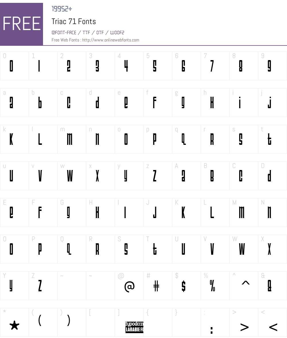 Triac 71 Font Screenshots